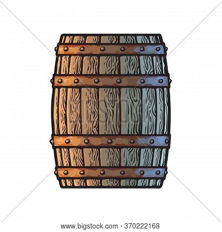 Old Wooden Barrel In Vintage Engraving Style. Side View Of Beer, Wine, Rum Whiskey Traditional Barre