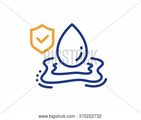 Flood Insurance Line Icon. Flooding Risk Coverage Sign. Water Drop Protection Symbol. Colorful Thin