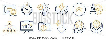 Set Of Science Icons, Such As Time, Energy Drops. Certificate, Save Planet. Cogwheel Dividers, Seo I
