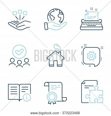 Technical Info, Cogwheel And Home Line Icons Set. Diploma Certificate, Save Planet, Group Of People.