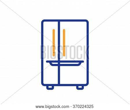 Two-chamber Refrigerator Line Icon. Fridge Sign. Freezer Storage Symbol. Colorful Thin Line Outline