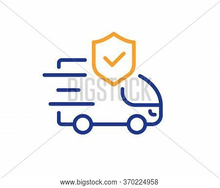 Transport Insurance Line Icon. Car Risk Coverage Sign. Delivery Protection Symbol. Colorful Thin Lin