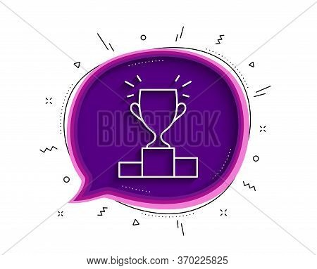 Winner Podium Line Icon. Chat Bubble With Shadow. Sports Trophy Symbol. Championship Achievement Sig