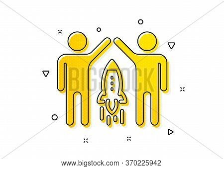 Business Management Sign. Partnership Icon. Launch Startup Project Symbol. Yellow Circles Pattern. C