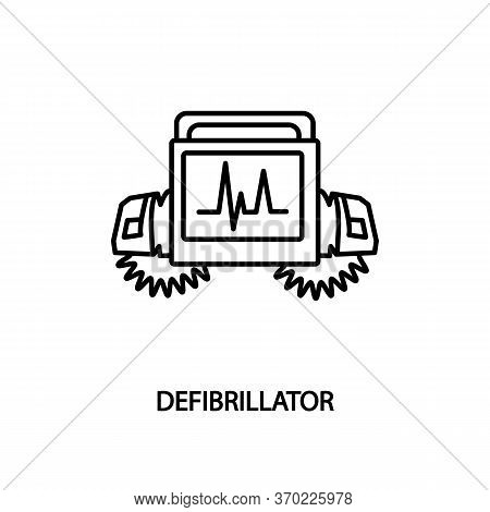 Defibrillator Machine Flat Line Icon. Medical Equipment For Clinics And Hospitals.
