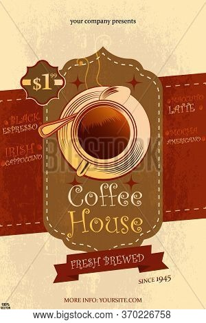 Coffee Design. Vector Eps 10. Restaurant Or Coffee House Menu Design Template. Brochure & Flyer Temp