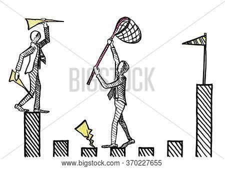 Freehand Ink Pen Drawing Of One Businessman Throwing Paper Airplanes Towards The Goal Post, While A