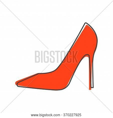 Vector Icon Of A Shoe. Womens High-heeled Shoes Cartoon Style On White Isolated Background.