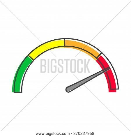Vector Icon Speedometer Or Tachometer With Arrow Cartoon Style On White Isolated Background.