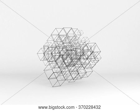 Abstract High-tech Installation Of Random Sized Wire-frame Cubes Over White Background. Digital Clou