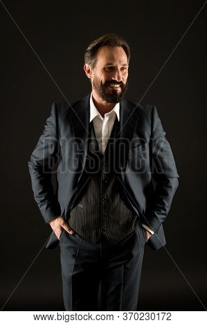 Old Fashioned. Classics Eternal Value. Bearded Man With Formal Look. Businessman Black Background. M