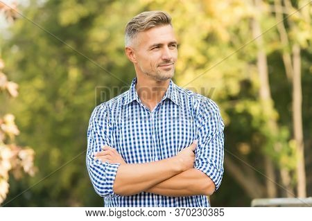 Enjoy The Weather. He Radiates Charisma. Male Beauty And Fashion. Young Adult Man In Casual Clothes.