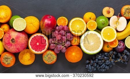 Fruit Sources Of Vitamins, Background Fruits Fresh . Fresh Fruits. Assorted Fruits Colorful, Clean E