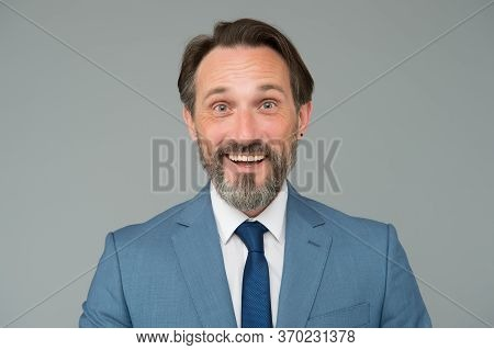 So Happy. Happy Mature Businessman Wear Tie. Mid Adult Caucasian Male Executive At Work. Boss On Suc