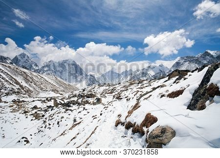 Road To Everest Base Camp And Himalaya Mountain Landscape In Sagarmatha National Park, Khumbu, Nepal