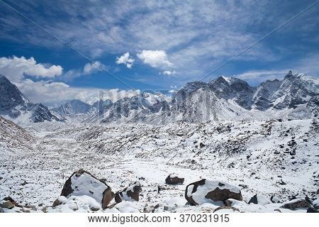 Himalaya Mountain Landscape In Sagarmatha National Park, Everest Region, Nepal Himalayas. Road To Ev