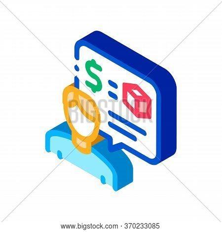 Pawnshop Representative Employee Icon Vector. Isometric Pawnshop Representative Employee Sign. Color