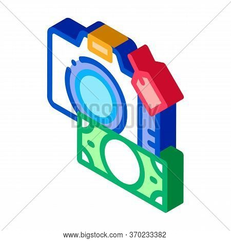 Security Deposit Camera Icon Vector. Isometric Security Deposit Camera Sign. Color Isolated Symbol I