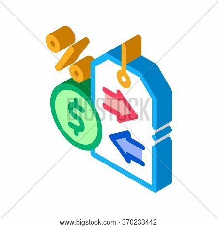 Cash Interest Price Tag Icon Vector. Isometric Cash Interest Price Tag Sign. Color Isolated Symbol I
