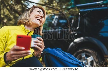 Woman Laughter Showing Teeth Calling On Mobile Phone Summer Forest While Traveling Auto. Happiness T