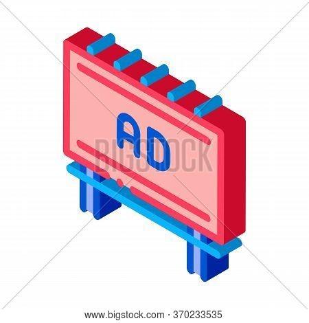 Mounted Overhead Billboard Icon Vector. Isometric Mounted Overhead Billboard Sign. Color Isolated Sy