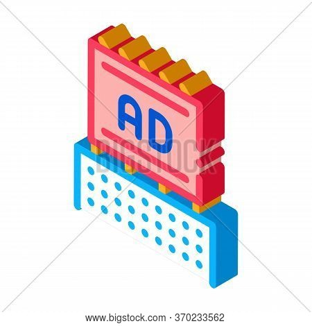 Billboard On Top Of High-rise Building Icon Vector. Isometric Billboard On Top Of High-rise Building
