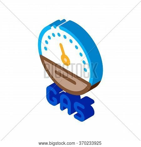Engine Gas Indicator Icon Vector. Isometric Engine Gas Indicator Sign. Color Isolated Symbol Illustr