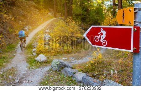 Zone Nature Line Or Signs For Biking In The Matterhorn Terminal Täsch Nature Park.