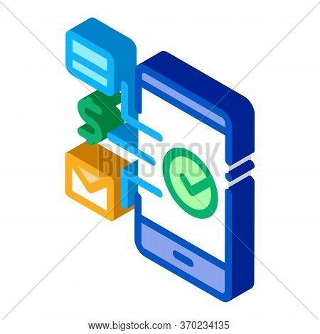 Payment By Telephone Icon Vector. Isometric Payment By Telephone Sign. Color Isolated Symbol Illustr