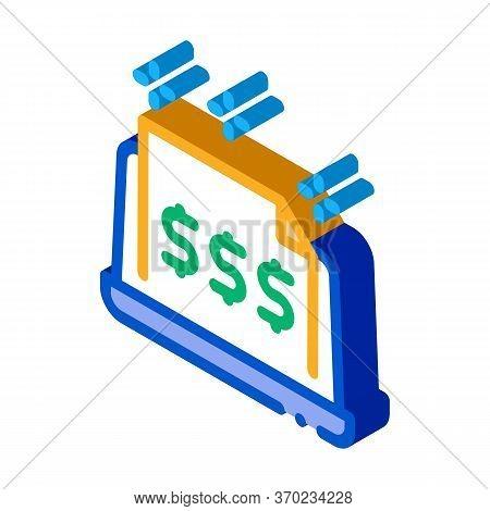 Cash Documents In Computer Version Icon Vector. Isometric Cash Documents In Computer Version Sign. C