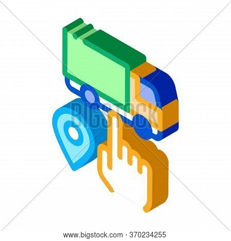 Truck Geolocation Selection Icon Vector. Isometric Truck Geolocation Selection Sign. Color Isolated