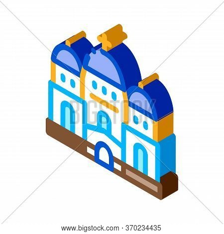 Christian Temple With Domes Icon Vector. Isometric Christian Temple With Domes Sign. Color Isolated