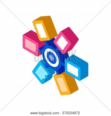 Selection Of Colors In Cartridge Icon Vector. Isometric Selection Of Colors In Cartridge Sign. Color
