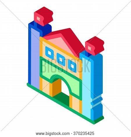 Castle Amusement Park Icon Vector. Isometric Castle Amusement Park Sign. Color Isolated Symbol Illus