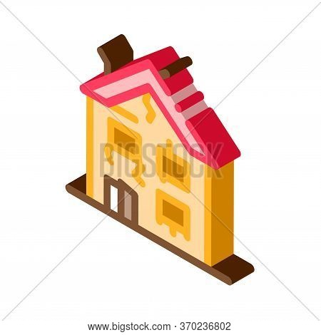 Collapse Of Old House Icon Vector. Isometric Collapse Of Old House Sign. Color Isolated Symbol Illus
