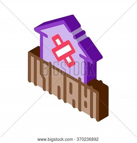 Enclosed Non-residential Building Icon Vector. Isometric Enclosed Non-residential Building Sign. Col