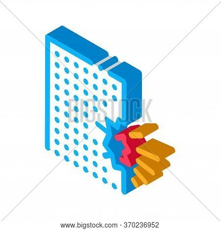 Blow House Collapse Icon Vector. Isometric Blow House Collapse Sign. Color Isolated Symbol Illustrat