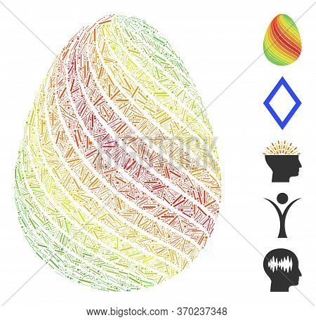Dash Mosaic Based On Abstract Egg With Diagonal Stripes Icon. Mosaic Vector Abstract Egg With Diagon