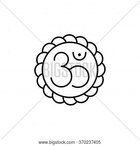 Om, Yoga Line Illustration Icon On White Background