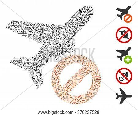 Hatch Mosaic Based On Airplane Closed Icon. Mosaic Vector Airplane Closed Is Formed With Random Line