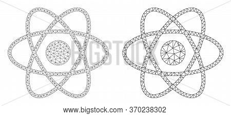Mesh Vector Atom Icon. Mesh Carcass Atom Image In Lowpoly Style With Connected Triangles, Dots And L