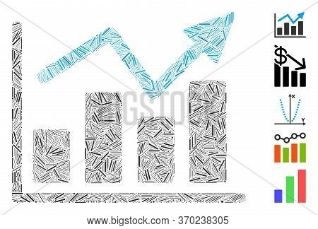 Line Mosaic Based On Bar Chart Trend Icon. Mosaic Vector Bar Chart Trend Is Formed With Scattered Li
