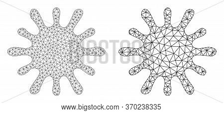 Mesh Vector Bacteria Icon. Mesh Wireframe Bacteria Image In Low Poly Style With Structured Triangles