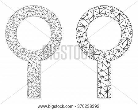 Mesh Vector Barren Gender Symbol Icon. Mesh Wireframe Barren Gender Symbol Image In Lowpoly Style Wi
