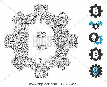 Line Mosaic Based On Bitcoin Cog Wheel Icon. Mosaic Vector Bitcoin Cog Wheel Is Designed With Random