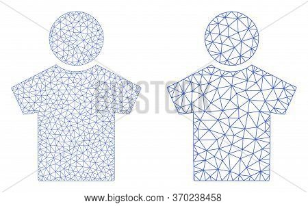 Mesh Vector Boy Icon. Mesh Wireframe Boy Image In Lowpoly Style With Organized Triangles, Nodes And