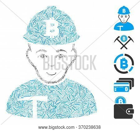Hatch Mosaic Based On Bitcoin Miner Icon. Mosaic Vector Bitcoin Miner Is Designed With Random Hatch