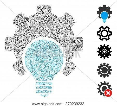 Line Mosaic Based On Bulb Configuration Gear Icon. Mosaic Vector Bulb Configuration Gear Is Composed