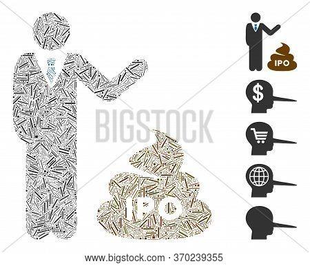 Hatch Mosaic Based On Businessman Show Ipo Shit Icon. Mosaic Vector Businessman Show Ipo Shit Is Des