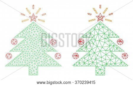 Triangular Vector Christmas Fir Tree Icon. Mesh Carcass Christmas Fir Tree Image In Lowpoly Style Wi